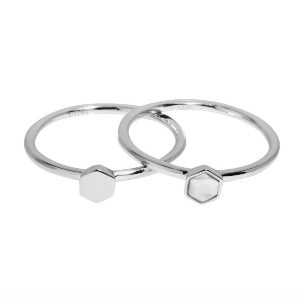 Idylle Silver Solid And Marble Hexagon Set of Two Rings 52 CLJ42001-52