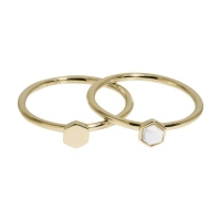 Idylle Gold Solid And Marble Hexagon Set of Two Rings 52 CLJ41001-52