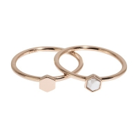 Idylle Rose Gold Solid And Marble Hexagon Set of Two Rings 54 CLJ40001-54